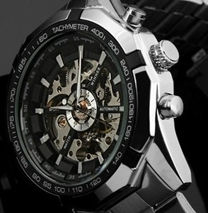 Победитель бренд класса люкс Спорт мужской автоматический скелет механические военные часы мужчины серебро полный Стальной браслет
