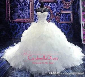 2019 Barato de lujo bordado con cuentas vestidos de novia vestido de novia corsé de organza de la catedral / iglesia vestido de bola vestidos de novia