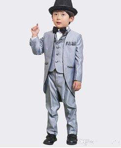 Gümüş Gerçek Resim Üç Parçalı Klasik Yakışıklı erkek düğün suit Damat Giyim Aksesuarları çocuğun Kıyafet Damat Smokin Boys 'Formal-05