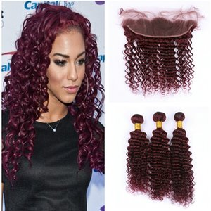 New Arrival #99j Burgundy Deep Wave Ear To Ear Frontal With Hair Bundles Blonde Wine Red Deep Curly Hair Weaves With Lace Frontals
