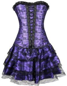 Corsetto sexy donna disossato in acciaio e bustier Costume Overbust Tops Cinis Grand Steampunk Leather Clasp Corset Dress