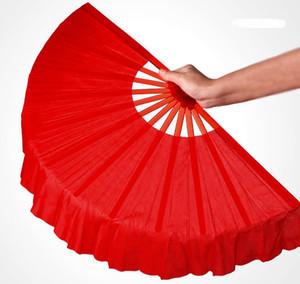 41 cm Preto Sólido Vermelho Dobrável Ventiladores de Mão Artesanato Dance Performce Festa de Casamento Decoração Lembrança Suprimentos Z11023