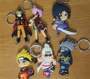 Cartoon Anime Keychian Hokage Ninjia Naruto Metall + Kieselgel Kleine Ketten Auto Handtasche Schlüsselanhänger Mixed Anime Geschenk Anhänger