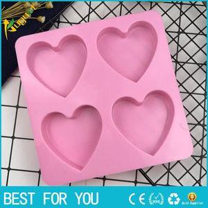 4 개의 동등한 사랑 모양 실리콘 케이크 형, 초콜렛 형, 새는 형, DIY 비누 형, Bakeware 공구