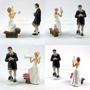 Nuevos toppers de pastel de moda Pareja Uno en el tiempo Cerámica Cerámica Bodas Topper para la decoración de la boda