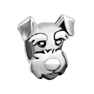Персонализированные ювелирные изделия домашнее животное милая собака голова животное европейский шарик металла Шарм дамы браслет с большим отверстием Pandora Chamilia совместимы