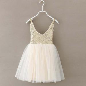 Fashion Girl Dress Sequin Dress Abbigliamento per bambini Abbigliamento per bambini 2015 Abiti estivi Ragazza Pizzo Abito principessa Abiti Ruffle Tulle Dress C9602