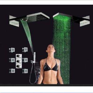 도매 및 소매 판촉 새로운 서 모스 탯 LED 손 샤워와 22 인치 폭포 샤워 헤드 수도꼭지 세트 마사지 제트 밸브
