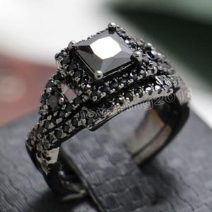 Victoria Wieck Nizza Schwarzer Saphir Simulierter Diamant 10KT Schwarzes Gold Gefüllt 2 Hochzeitsband Ring Set Gr. 5-11 Geschenk Freies Verschiffen