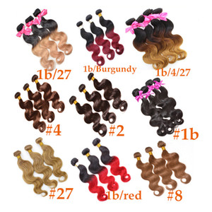 Brazilian Body Wave Two Tone Color Ombre Human Remy Hair Weaves T1B 27 T1B 30 T1B 99J Brown Burgundy Red Double Wefts