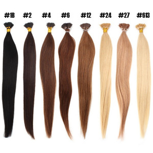 "Sıcak Satış 16"" 18"" 20"" 22"" 24"" Keratin Çubuk I İpucu İnsan Saç Uzantıları 100g 1g / s% 100 Hint Remy Saç Uzatma"