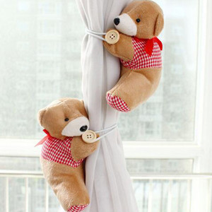 High quality free shipping 2016 2 Pair New wholesale window curtain hook tieback cute bear Curtain buckle hangers belt 5 colors