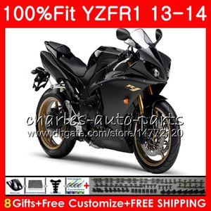 Iniezione del corpo per YAMAHA YZF 1000 YZFR1 13 14 YZFR1 fabbrica BLK 2013 2014 86NOAA YZF R 1 YZF1000 YZF1000 YZF R1 13 14 Carena kit 100% Fit