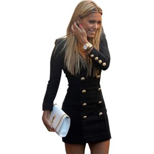 Wholesale- Women dress 2017 Europe United States the stylish long sleeve buttons black women's clothing dresses vestidos MP004