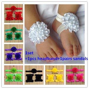 10sets / Lot bébé Teak Fleurs Fleurs Barefoot Sandales et bandeau Ensemble Toe Blooms Baby Shoose