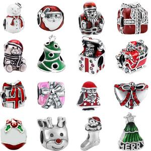 trasporto libero regalo di natale mix design 20 pz europeo albero di argento santa pupazzo di neve presente bead charms fit pandora braccialetto di stile mix005