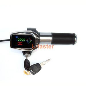 Poignée de manette de vélo électrique avec affichage de la vitesse du signal GPS LCD Affichage de moto électrique poignée de barre de verrouillage Serrure à clé avec boussole