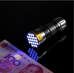 Горячая распродажа! 100 шт.-Новый ультрафиолетовый ультрафиолетовый 21 светодиодный фонарик мини черный свет алюминиевый фонарик свет лампы бесплатная доставка