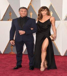 2016 nuevos atractivos de Jennifer Flavin 88a Oscar Celebrity vestidos de noche de raso Negro cuello en V del lado alto del partido sin respaldo de Split Pageant Prom Vestidos