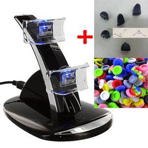 LED Çift USB Şarj Dock Cradle İstasyonu Playstation 4 için Standı PS4 Oyunu + Analog Thumbstick Sapları + L1 R1 L2 R2 Tetik Düğmeler