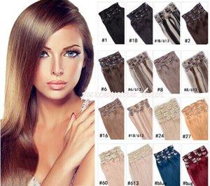 7A - 180g / pc 10pc / set 100% cabello humano real / pinzas para el cabello brasileñas en extensiones de cabeza real recta completa de alta calidad