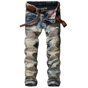 Retro Classic Special Colors Jeans New Style Trendy Stitching Jean Pants Fashion Trousers for Men All Season