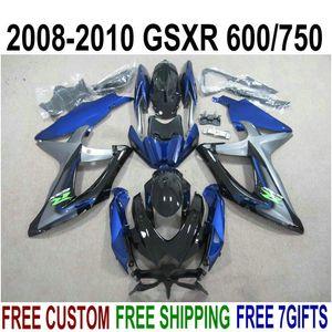 ABS полный обтекательный комплект для Suzuki GSXR750 GSXR600 2008-2010 K8 K9 Black Blue Flatings Set GSXR 600/750 08 09 10 KS66