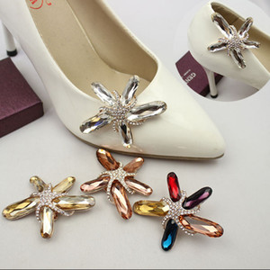 1 пара красочные пляж Морская звезда горный хрусталь Кристалл обуви клипы прелести обувь украшения для женщин на высоком каблуке