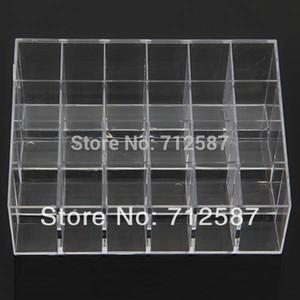 Gastos de envío Clear Acrylic 24 Lipstick Holder Display Stand Cosmetic Organizer Maquillaje Case # 9014