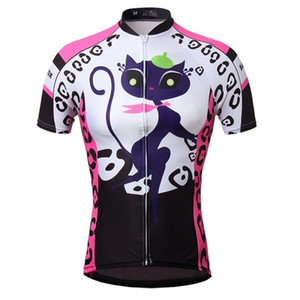 Wholesale-2015 Cat girl Women's Bike Sportwear Cycling Clothing Bicycle Short Sleeve Jersey Top Quick Dry