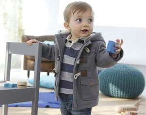 Рождество малыша мальчиков зима теплая верхняя одежда сгущаться с капюшоном искусственной кожи флис куртка наряд пальто куртка Snowsuit