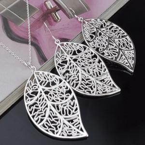 Mis bijoux en argent 925 Boucles d'oreilles argent collier de feuilles pour les femmes d'envoyer ses cadeaux petite amie / femme Livraison gratuite - 0013YXD