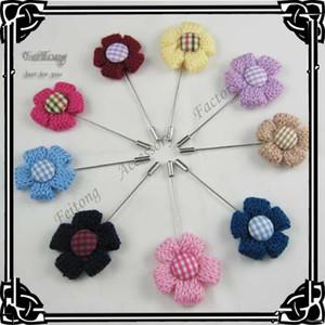 도매 12piece / lot 새로운 3.5cm 남자 브로치 꽃 옷 깃 핀 결혼식 신랑 맨 가슴 핀 스틱 핀 9 색 선택
