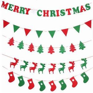 2017 diy tecido não-tecido xmas bandeiras santa cláusula floral bunting banners decoração de natal feliz home shop mercado quarto decoração