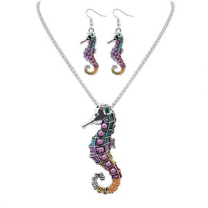 Мода панк-стиль 18KGP / 925 серебристый реалистичный Drip Rainbowful милый морской конек форма комплект ювелирных изделий сплава ожерелье серьги аксессуары для женщин