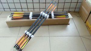 12 pezzi di balestra in carbonio arrow e bulloni per balestra da caccia lunghezza 22 pollici con freccia arancione e gialla
