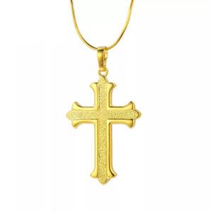 MGFam (172P) صليب يسوع قلادة الشريحة قلادة مجوهرات وصول جديد 24K مطلية بالذهب مع سلسلة ثعبان 45CM.