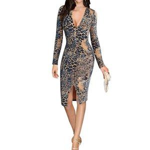 Nova primavera outono das mulheres sexy leopard dress vestidos robe manga comprida fenda mergulho v neck casual bainha bodycon vestidos