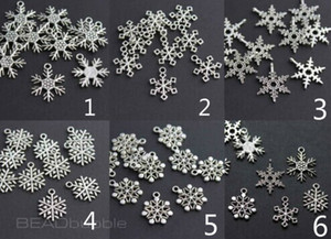 50pcs SNOWFLAKE Charms Christmas Pendants Antique Silver Tone Choose For diy necklace Jewelry Making findings