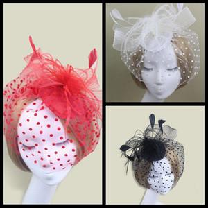 Fascinators da sposa 3 colour Fascinators Nice Sinamay Cappelli da sposa e da sposa Accessori per capelli Cappelli da cocktail Rosso / Nero / Bianco