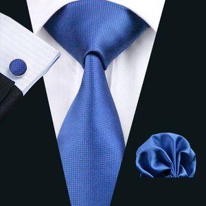 Classic Solid Blue Tie Set para hombre Hanky Gemelos Jacquard Woven Neck Tie Set Seda Hombre Set Business Work Formal N-0429