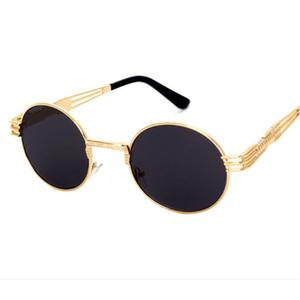 Toptan-Yeni vintage retro gotik steampunk ayna güneş gözlüğü altın ve siyah güneş gözlüğü vintage yuvarlak daire erkekler UV gafas de sol adam
