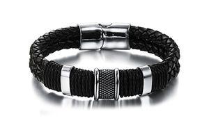 Широкий мужской плетение цепи браслет кожаный браслет для мужчин классический браслет Браслет ювелирных изделий подарок для человека (JewelOra BA101163)