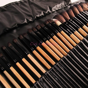 Heiße Art und Weise Räumungs 32Pcs Drucken Logo Make-up Pinsel professionelle Kosmetik bilden Bürsten-Satz Die beste Qualität Naturholz