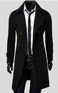 Slim 2015 Autumen e inverno Moda de Nova homens Trench Coats Homens caber lapelas e Negócios sieze casuais trench coat roupas masculinas @ 2834