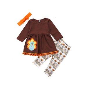 Bebek kız giysileri kıyafet şükran T-shirt üst + pantolon set güzel kız çocuk giyim tiki butik elbise takımları sevimli türkiye yürümeye başlayan 2-7 T