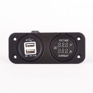 presa 5V 3.1A presa di corrente USB per auto + misuratore di corrente CC 2in1   Caricabatterie per cellulare