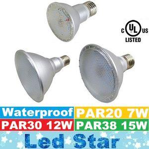 Marca New Waterproof PAR20 PAR30 PAR38 levou luzes 7W 12W 15W E27 lâmpadas LED 120 de Cima Lumens Led Lâmpadas AC 100-240V