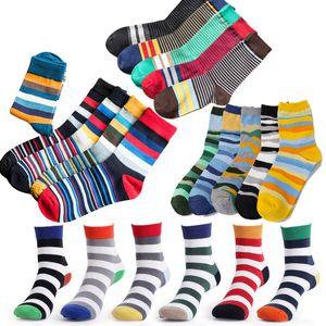 Wholesale- 6 pairs/lot and 5 pairs/lot  Cotton Men Socks Vintage Male Striped Colorful Socks Summer Refreshing Wedding Socks Design
