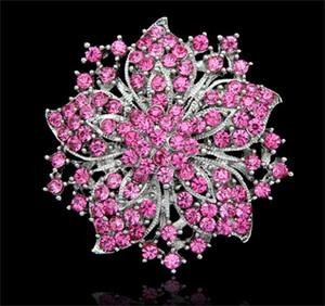 Güzel Büyük Rhinestone Kristal Broş Çin Redbud Çiçek Broş Pimleri Kadınlar Düğün Parti Elbise Takı Aksesuarları DCBJ04-B